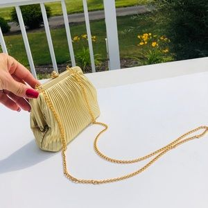 Small gold evening bag purse tote